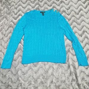 Lauren Ralph Lauren Womens L Blue Knit Sweater